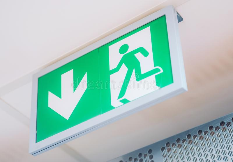 Evacuation Exit Interior Sign. Building and Interiors Safety Signs stock image