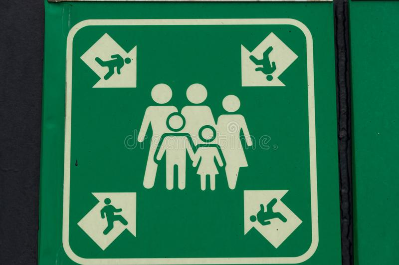 Evacuation meeting point sign. On board a ferry royalty free stock photo