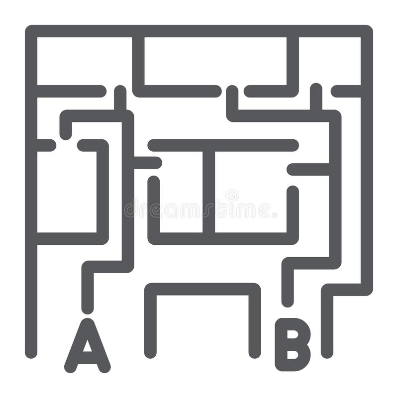 Evacuation plan line icon, evacuate and emergency, fire escape plan sign, vector graphics, a linear pattern on a white stock illustration