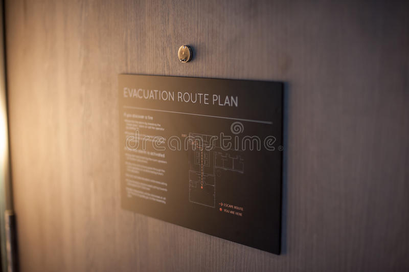 Evacuation route plan. Explained on the exit of the hotel stock photography