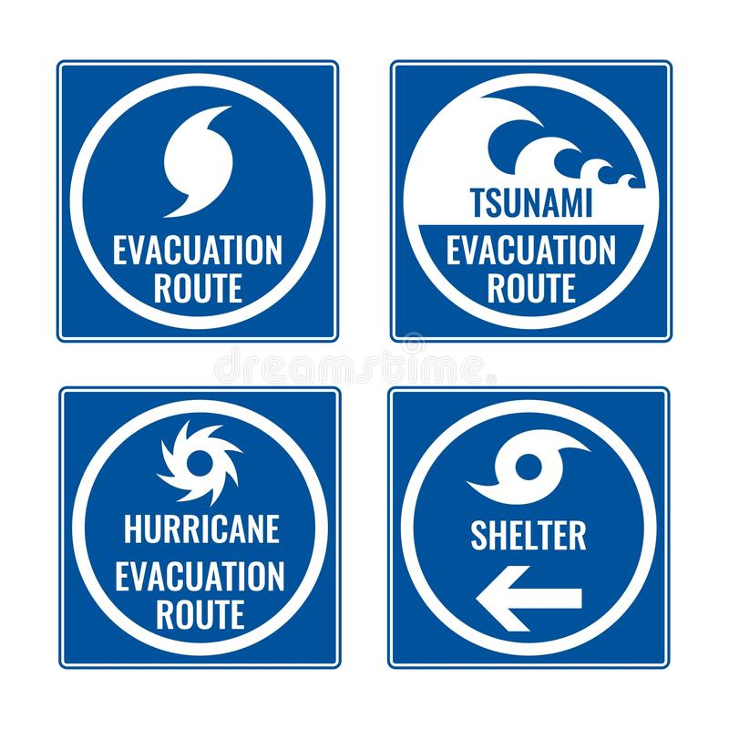 Evacuation route and shelter in case of tsunami or hurricane royalty free illustration
