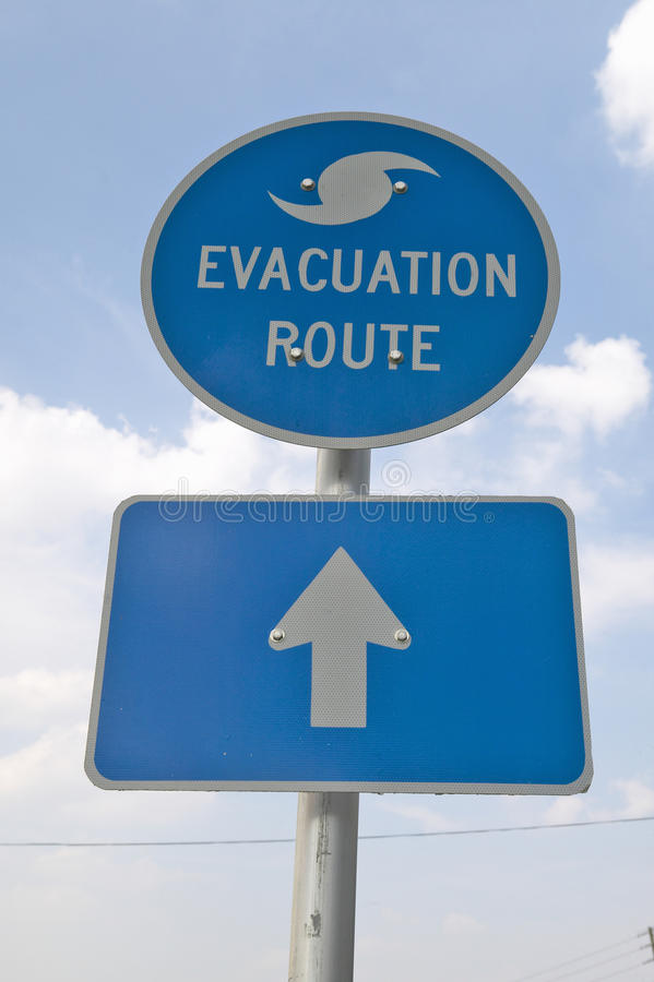 Evacuation Route sign. In Pensacola Florida stock image