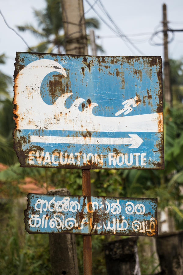 Evacuation route sign royalty free stock photography