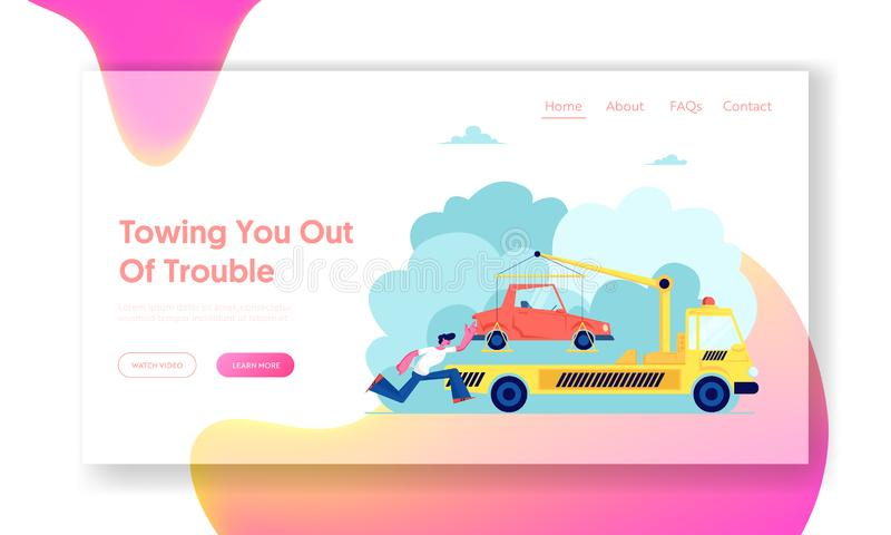 Evacuation Service Website Landing Page, Tow Truck Take Away Car, Flatbed Car with Crane and Signaling Evacuating Transport vector illustration