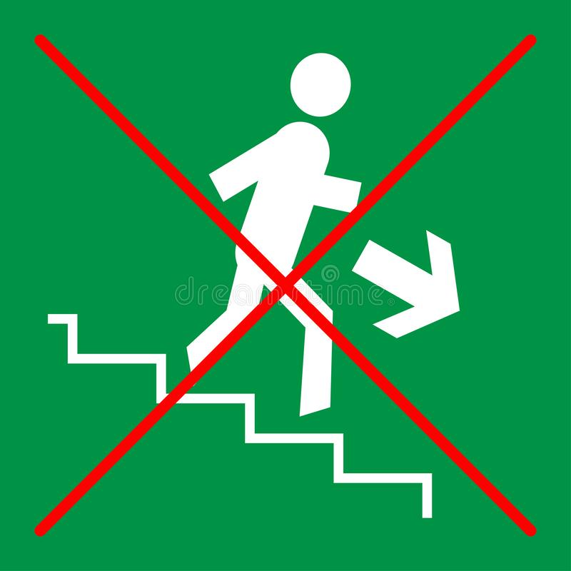 Prohibition sign on green background: stairs, do not run, do not rush royalty free illustration