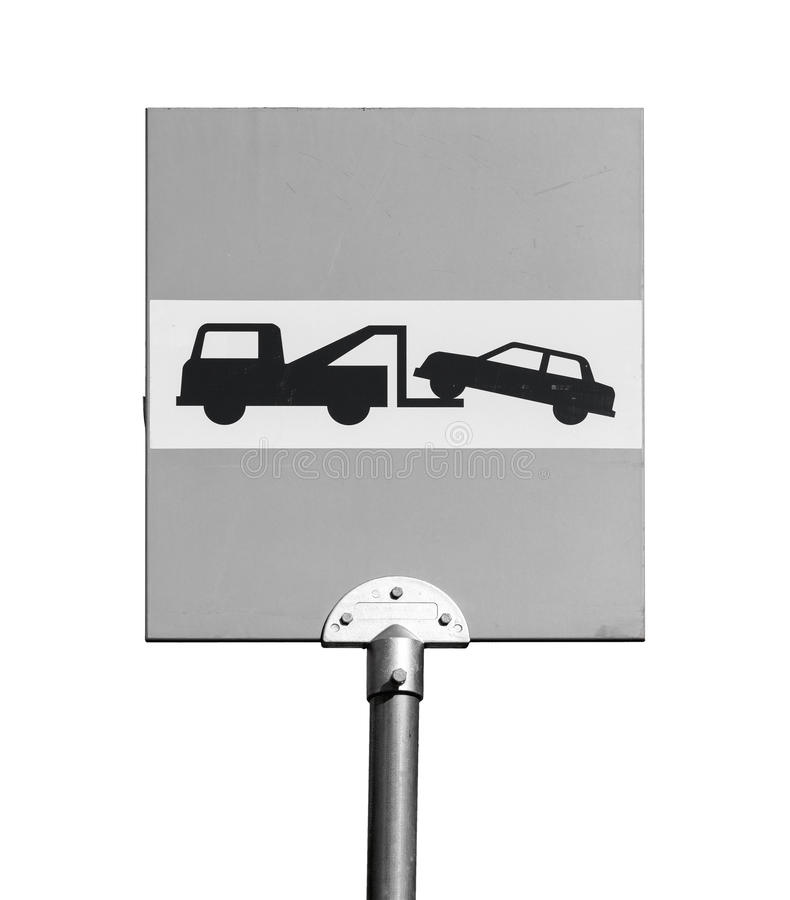 Evacuation on tow truck. Road sign isolated on white. Background royalty free stock photo