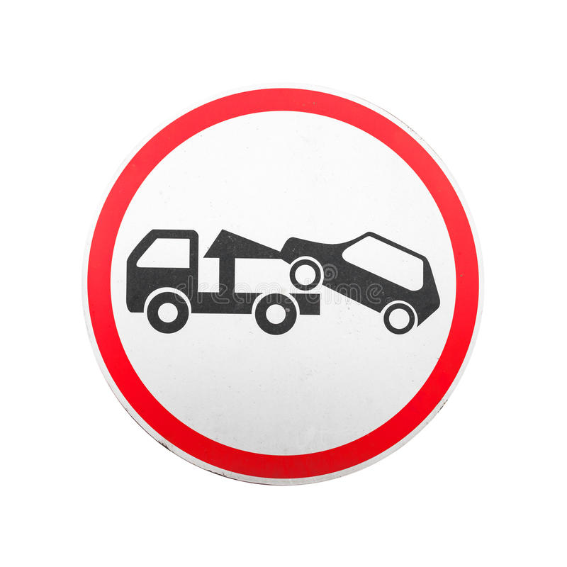 Evacuation on tow truck. Round road sign isolated. Evacuation on tow truck. Round red, black and white road sign isolated on white background royalty free stock photography