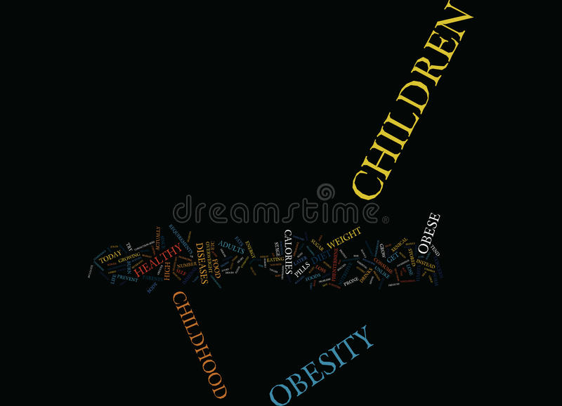 Evade The Mental Trauma Of Childhood Obesity Text Background Word Cloud Concept royalty free illustration