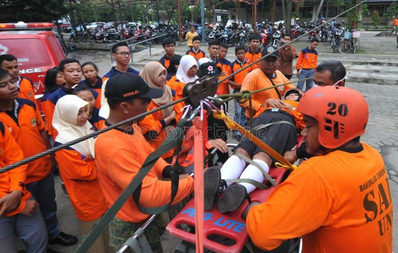 evakuera offer av olyckor från en höjd royaltyfria bilder