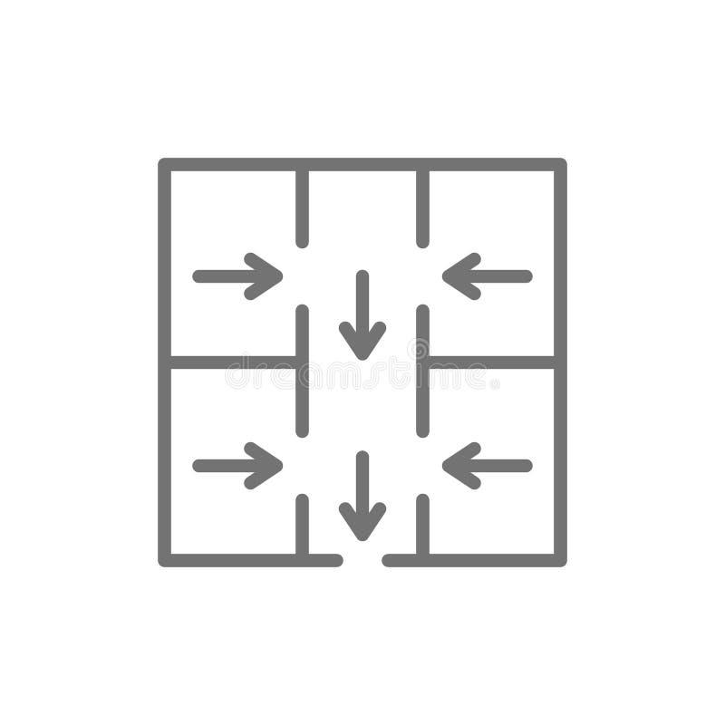 Evakueringsplan, nöd- evakueringsteckenlinje symbol stock illustrationer