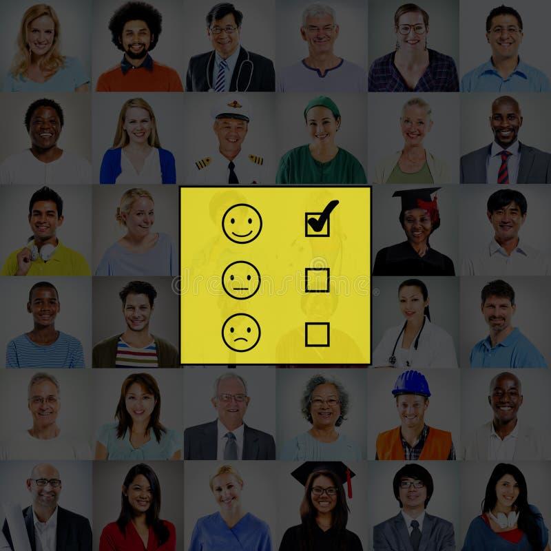 Evalúe el concepto de evaluación del cuestionario de las estadísticas de la evaluación fotos de archivo