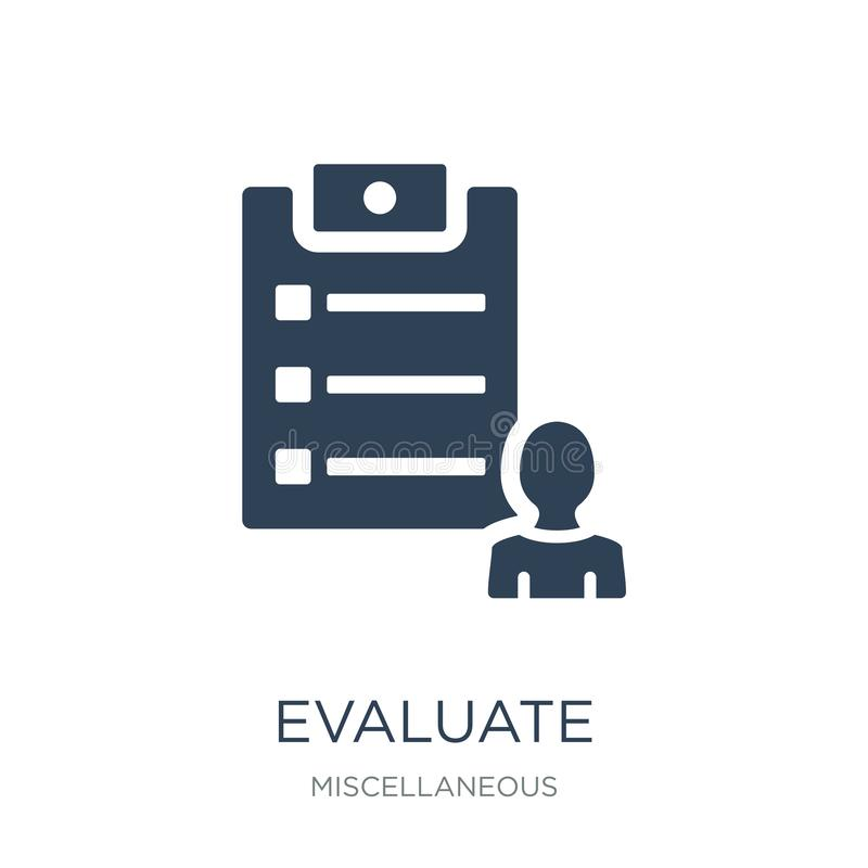 evalúe el icono en estilo de moda del diseño evalúe el icono aislado en el fondo blanco evalúe el plano simple y moderno del icon ilustración del vector