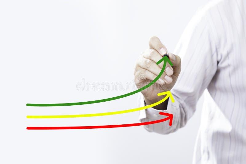 Evaluación comparativa y concepto del líder del mercado Hombre de negocios del encargado, co imágenes de archivo libres de regalías
