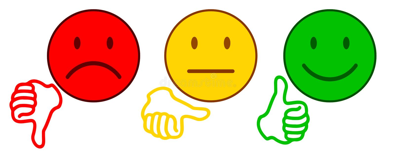 Evaluación por los emoticons - para la acción stock de ilustración