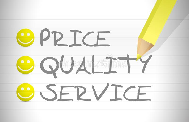 Download Evaluate Price, Quality And Service Stock Illustration - Image: 29798226