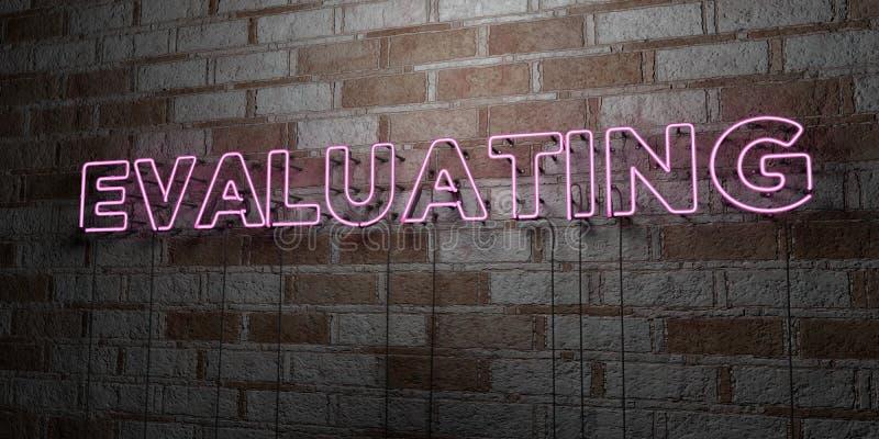 EVALUATIE - Gloeiend Neonteken op metselwerkmuur - 3D teruggegeven royalty vrije voorraadillustratie stock illustratie