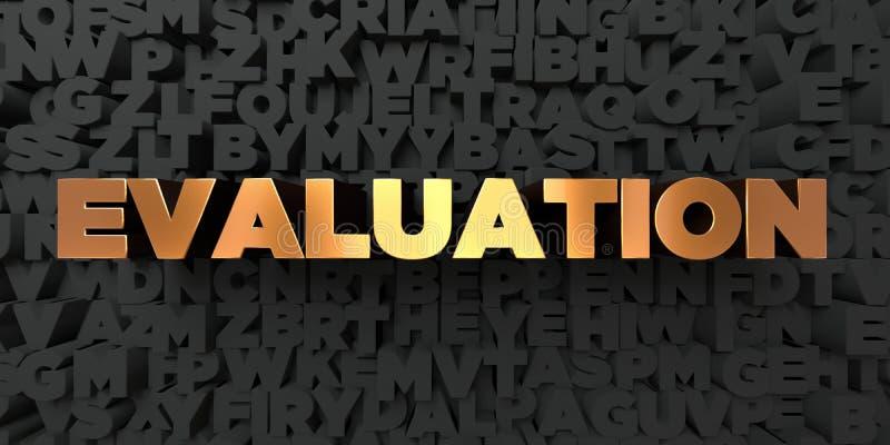 Evaluatie - Gouden tekst op zwarte achtergrond - 3D teruggegeven royalty vrij voorraadbeeld stock illustratie