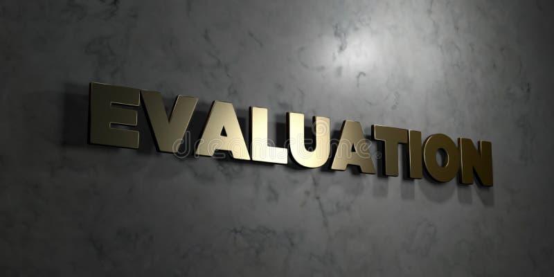 Evaluatie - Gouden tekst op zwarte achtergrond - 3D teruggegeven royalty vrij voorraadbeeld vector illustratie