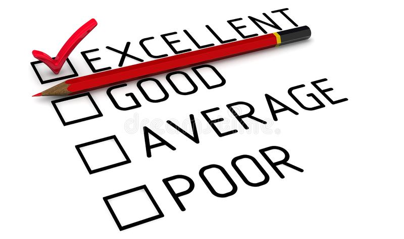 Evaluation is excellent stock illustration