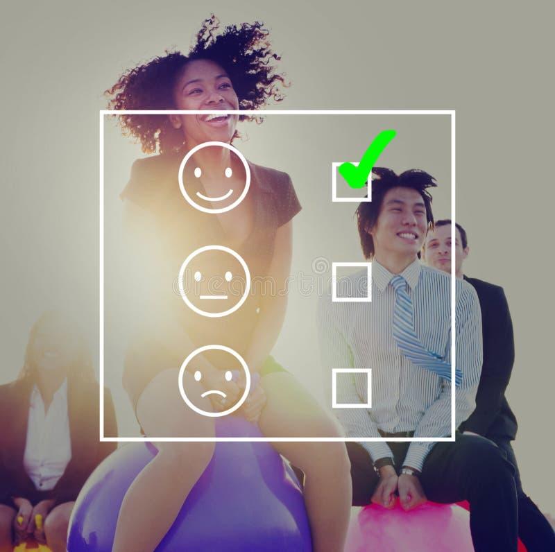 Evalueer de Evaluatie van de Vragenlijstconcept van Evaluatiestatistieken royalty-vrije stock foto