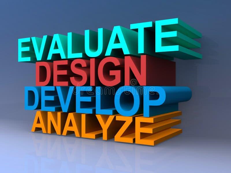 Evalueer, ontwerp, ontwikkel me, analyseer stock illustratie