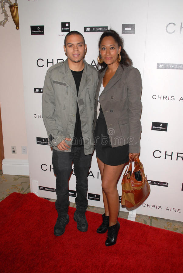 Evan Ross,Tracee Ellis Ross. Evan Ross and Tracee Ellis Ross at the introduction of the Chris ire Hollywood Glamour Collection, Beverly Hills Hotel, Beverly royalty free stock photo
