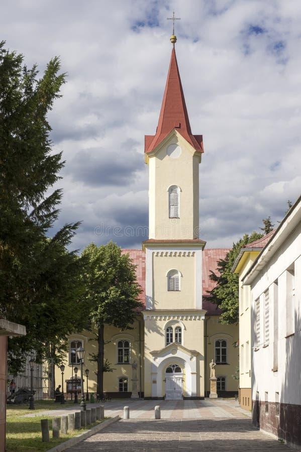 Evangelic kyrka, Liptovsky Mikulas stad, Slovakien arkivfoton