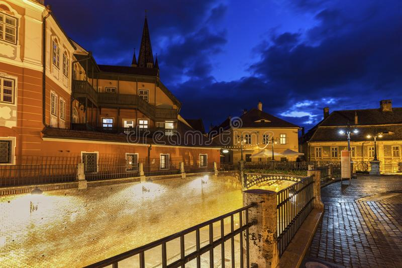 Evangelical Cathedral of Saint Mary and Bridge of Lies in Sibiu royalty free stock images