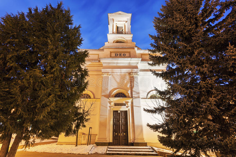 Evangelical Church in Poprad. At night. Poprad, Slovakia royalty free stock images
