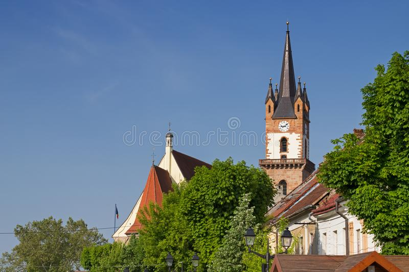 Evangelical church tower in Bistrita. Beautiful view on the Evangelical church tower in Bistrita, Romania royalty free stock photography