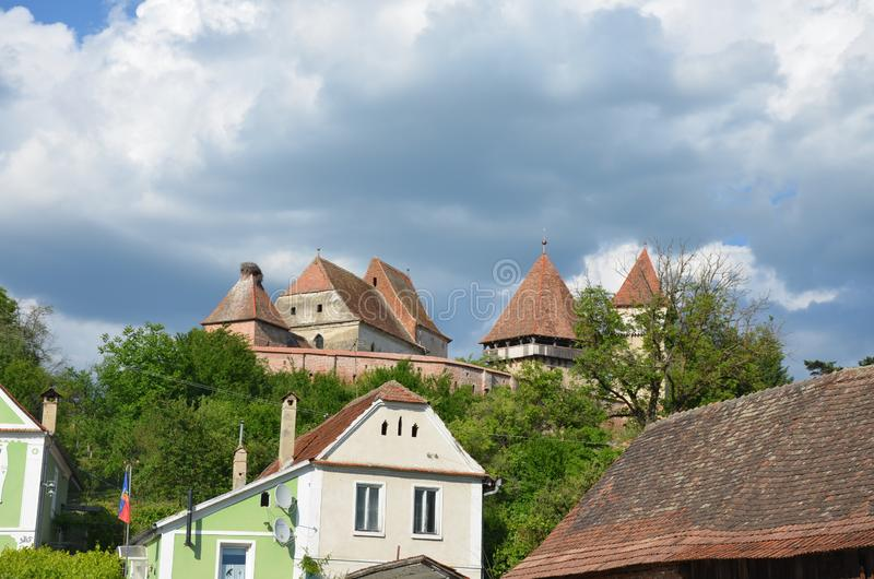 Fortified Church Alma Vii, Transilvania, Romania stock image