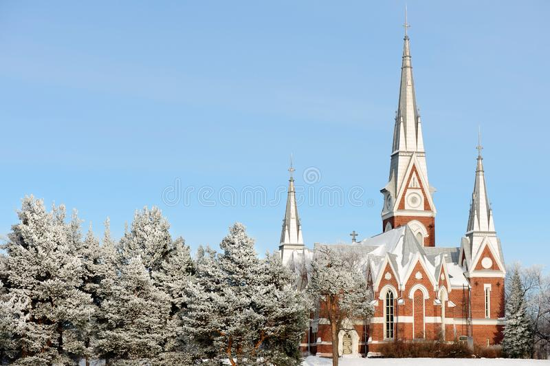 Evangelical Lutheran Church of Joensuu, Finland. Cold and snowy winter day royalty free stock photos