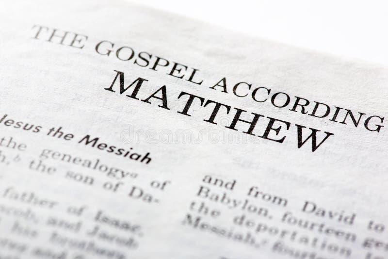 Evangelio de Mathew imagen de archivo libre de regalías