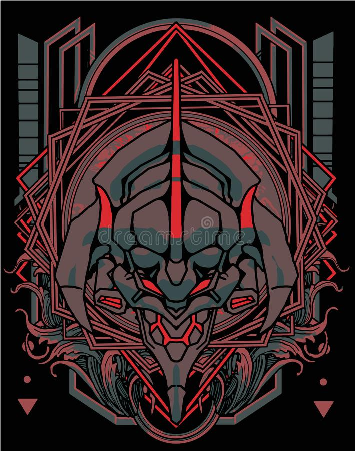 Free Evangelion Samurai Transformer Head Sacred Geometry Set Bundle Royalty Free Stock Photo - 164030665