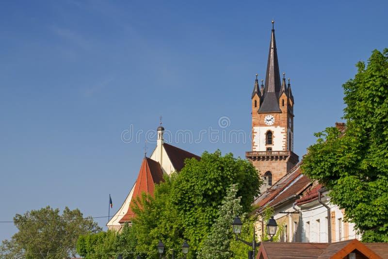 Evangelische kerktoren in Bistrita royalty-vrije stock fotografie