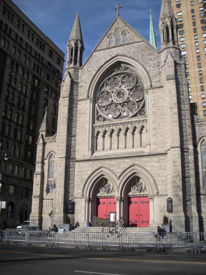 Evangelische Lutheran Kerk van de Heilige Drievuldigheid in de Stad New-York, NYC, NY, de V.S. stock afbeelding