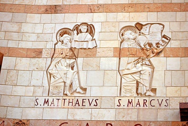 Evangelisti St Mark e St Matthew, basilica dell'annuncio a Nazaret fotografia stock