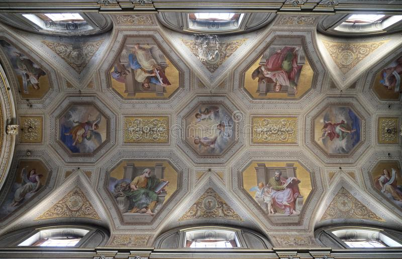 The evangelists, fresco on the ceiling of Santa Maria in Aquiro church in Rome. Italy stock images