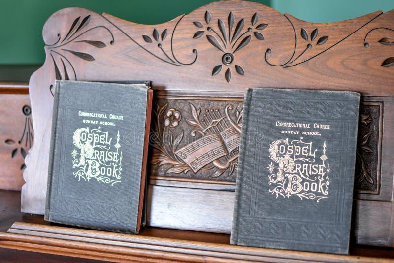 Evangelium-Lob-Buch-Hymnus ` s auf Organ stockbilder