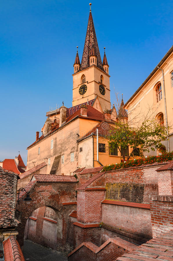Evanghelical Church in Sibiu stock image