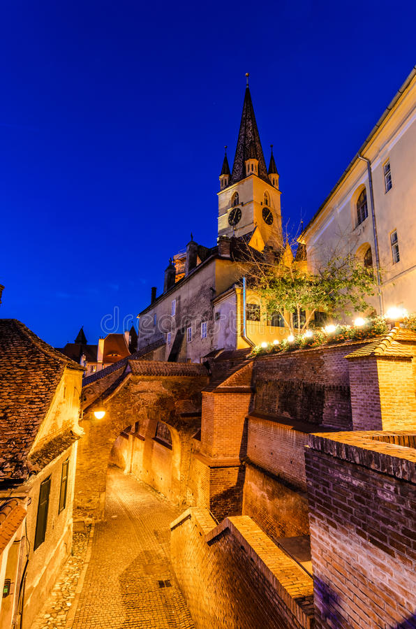Evanghelical Church in Sibiu stock images