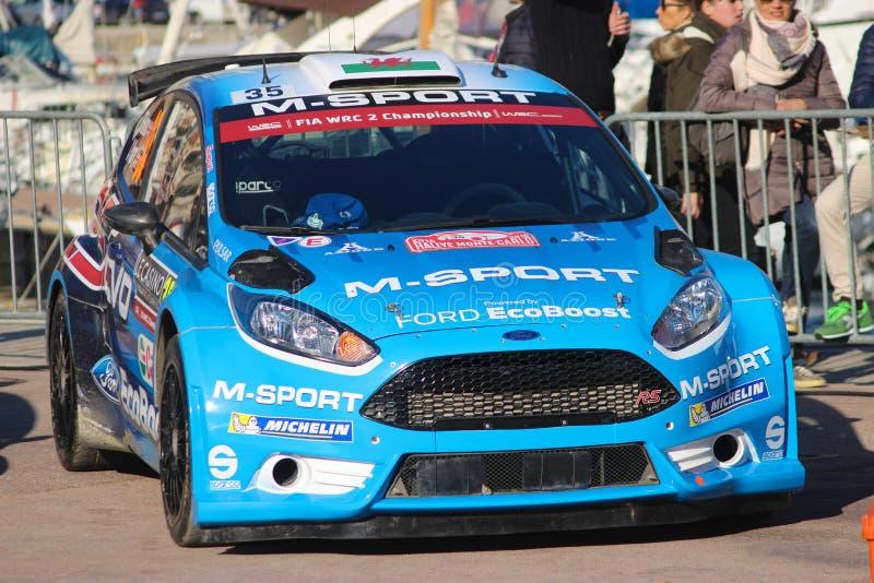 Evans Elfyn Ford Fiesta RS WRC2 - Monte Carlo Rally 2016 lizenzfreies stockbild