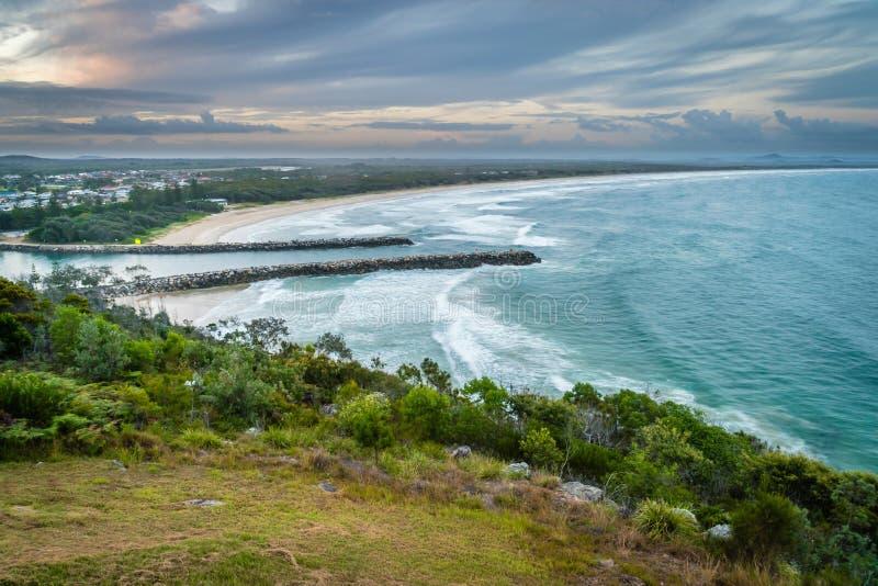 Evans Head bei Sonnenuntergang in Australien im Sommer lizenzfreie stockfotografie