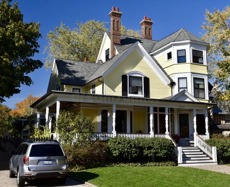 Evanston Geel Huis royalty-vrije stock foto