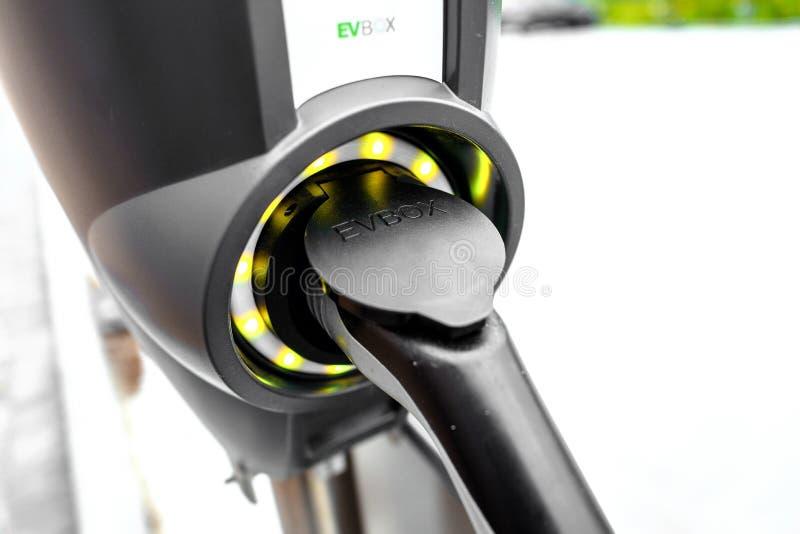 EVBOX elektrycznego samochodu ładuje prymka, fotografia royalty free