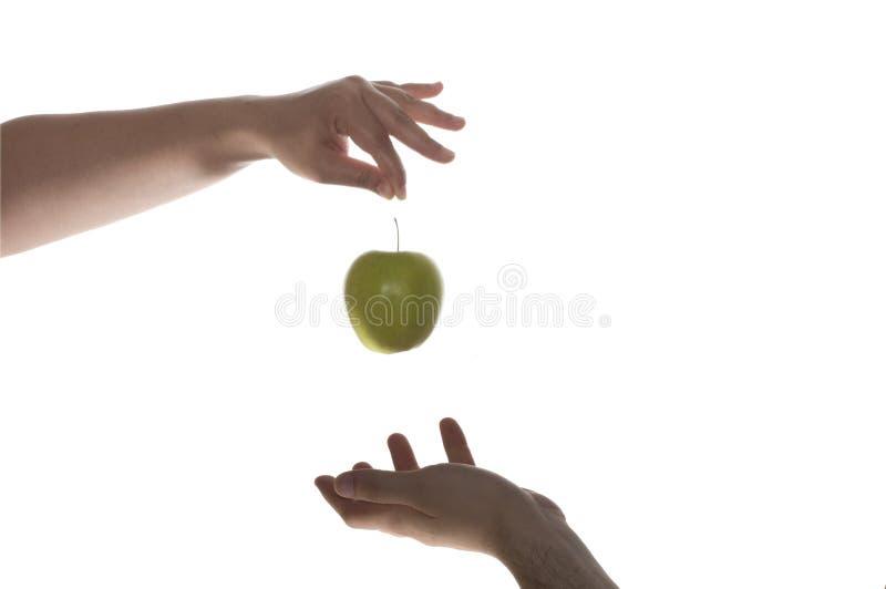 Eve Adam und grüner Apfel stockbild