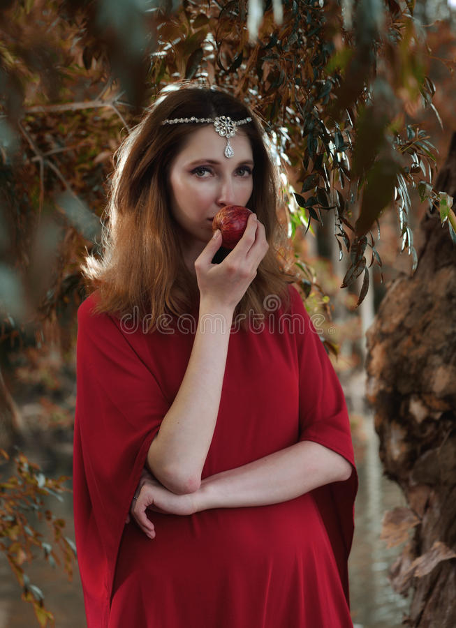 Eve in The Garden of Eden stock image