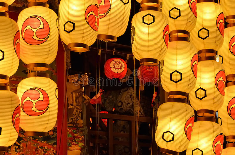 Eve of Gion Matsuri festival, Kyoto Japan in July. The annual festival of Gion Matsuri of Kyoto holds in summer. Decorated floats with lanterns on the eve of royalty free stock image