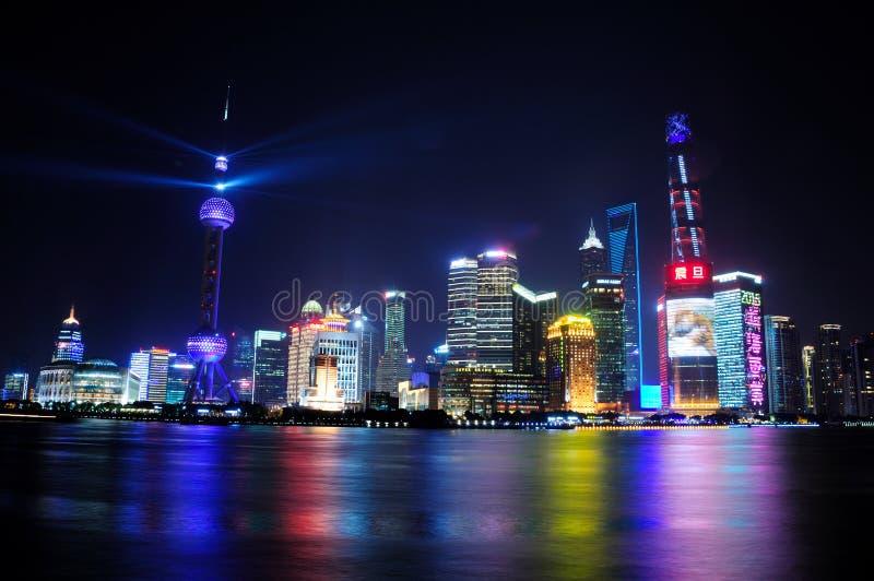 Eve Shanghai van het nieuwjaar stock afbeeldingen