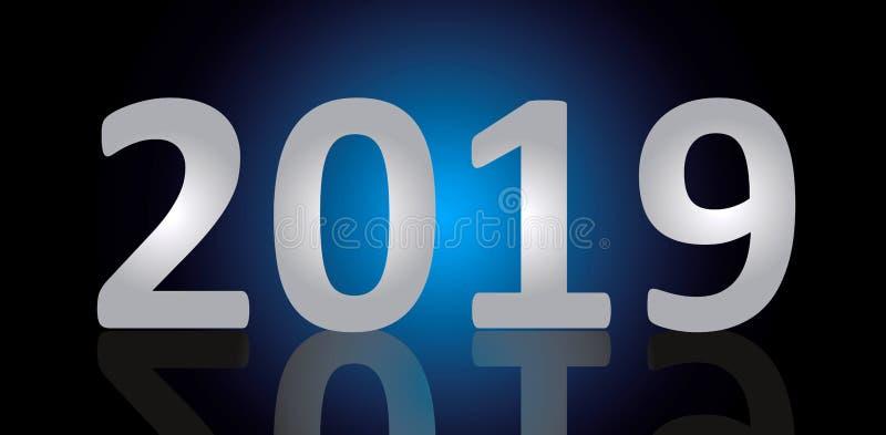 Eve Vector Banner de nouvelle année An neuf heureux Fond bleu et noir de gradient illustration de vecteur